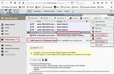 screenshot webmail