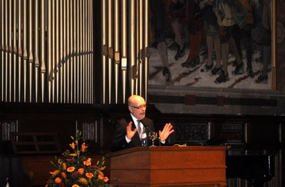 """6th Marburg Lecture on International Criminal Law: Professor Udo di Fabio (Bonn) giving his presentation on """"The Punitive Power of World Society"""" in the auditorium of the Old University ."""