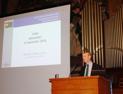 ICWC Director Professor Conze welcoming the guests.