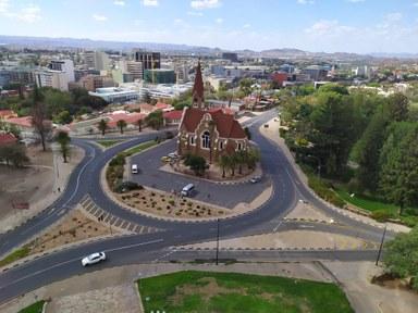 Christuskirche (Christ Church) in Windhoek from a bird's eye view
